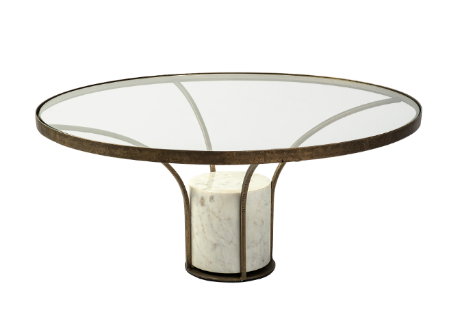 Round Marble and Brass Coffee Table