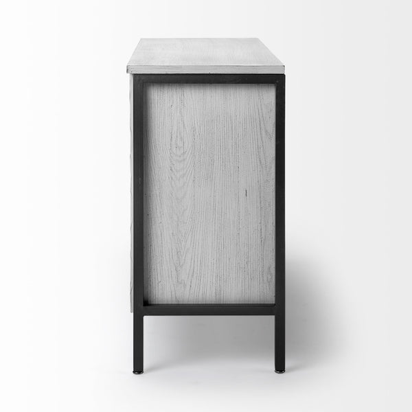 Rustic White Toned Three Door Cabinet - CENTURIA