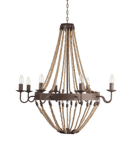 Sawyer Rustic Rope Chandelier - CENTURIA