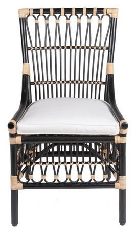 Black and Tan Rattan Dining Chair - CENTURIA