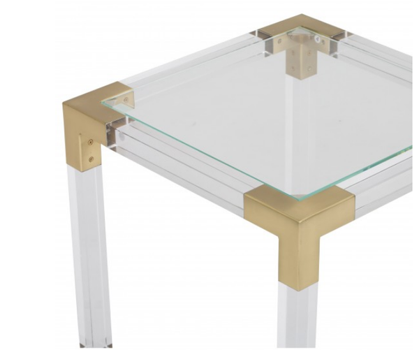 Lucite & Brass Side Table - CENTURIA