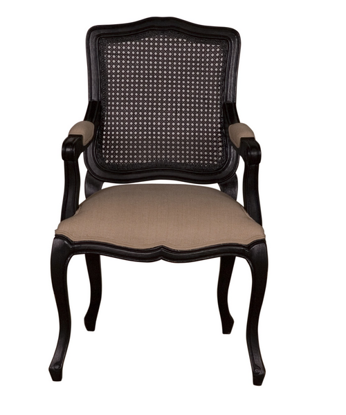 French Provincial Black Cane Armchair - CENTURIA