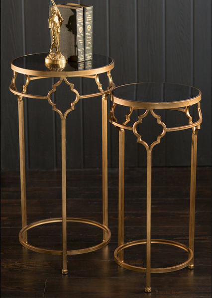 Gold and Black Stone Tables-A Set - CENTURIA