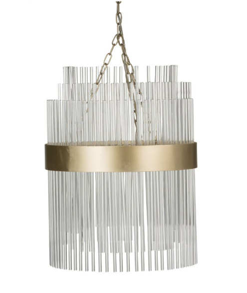 Modernist Glass and Brass Chandelier - CENTURIA