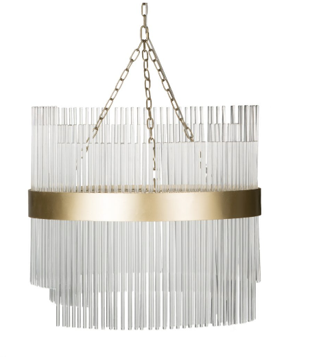 Modernist Glass and Brass Chandelier Large Size - CENTURIA