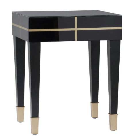 Geometric Lacquered Black and Gold Side Table - CENTURIA