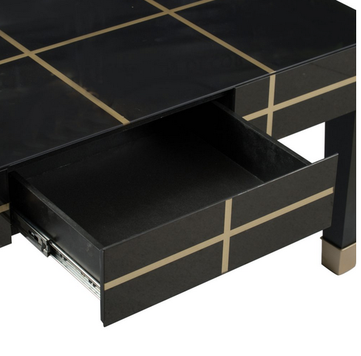 Gold and Black Geometric Modern Coffee Table - CENTURIA