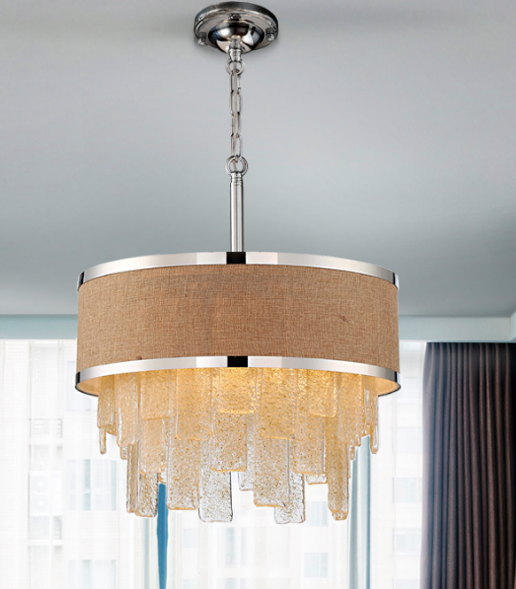 Tan and Amber Textured Crystal Drum Light - CENTURIA