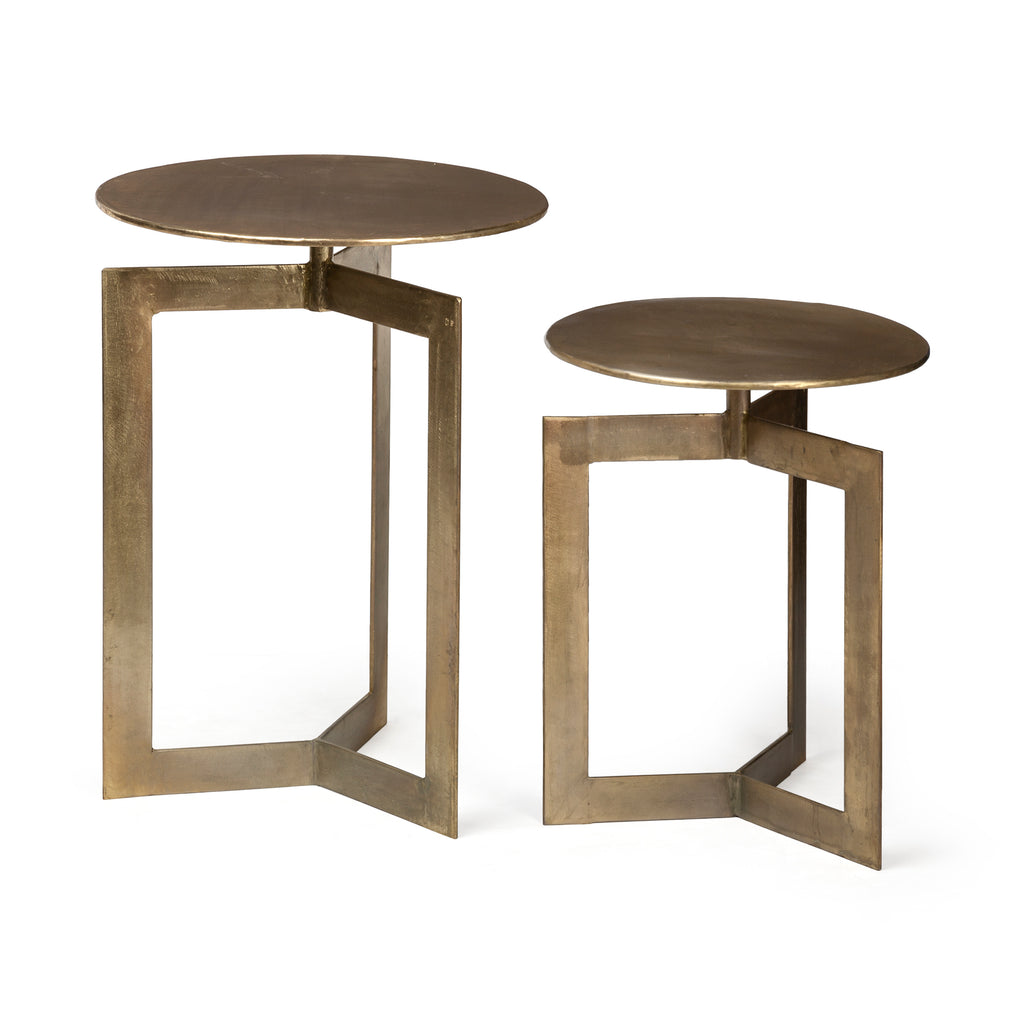 Set/2 Modern Brass Minimalist Side Tables - CENTURIA