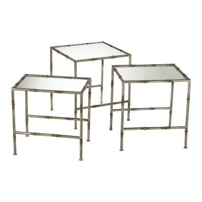 Set/3 Bronze Bamboo Chinoiserie Side Tables - CENTURIA