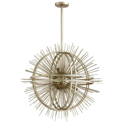 Globe Sunburst 8 Light Chandelier in Silver Leaf