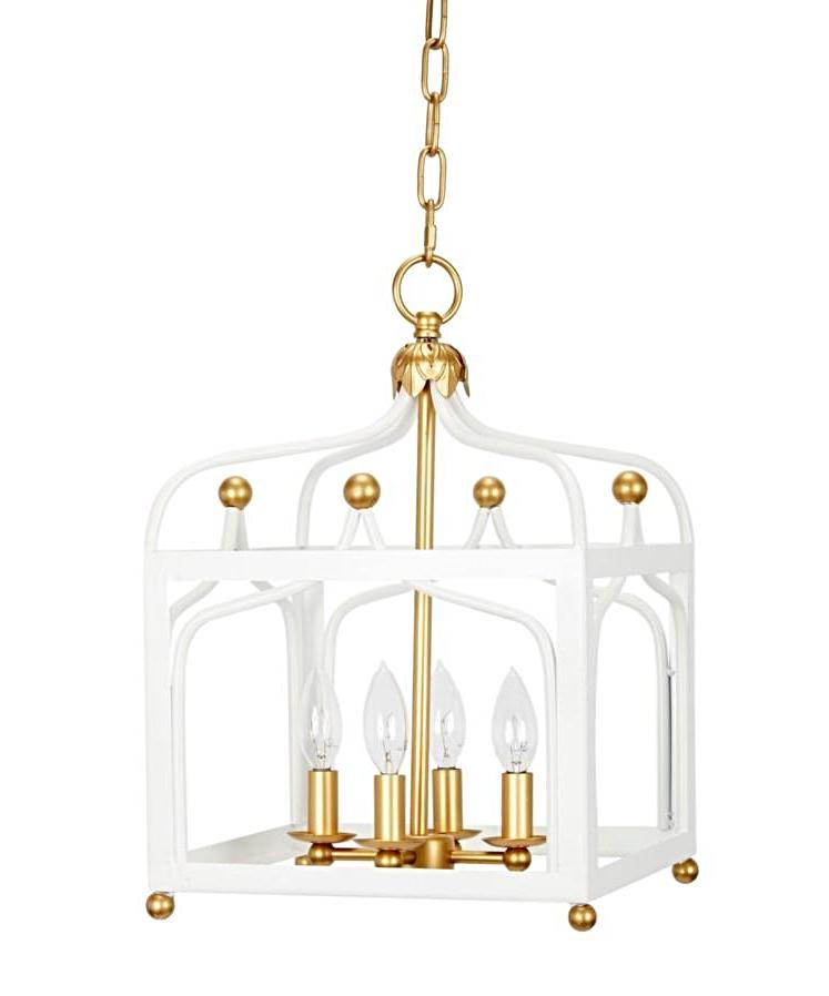 White and Gold Lacquer Chinoiserie Pendant Light