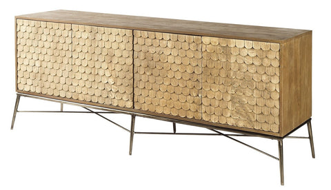 Wood Scalloped Scandinavian Modern Sideboard - CENTURIA