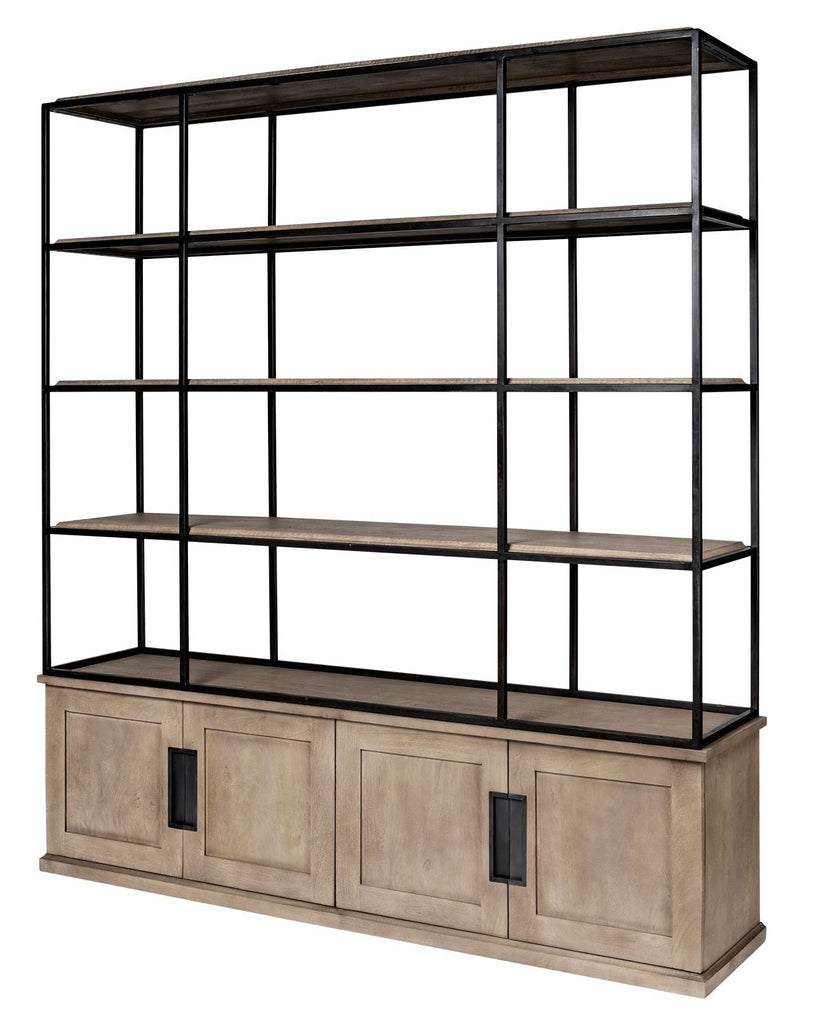 Wooden and Black Metal Industrial Chic Shelving - CENTURIA