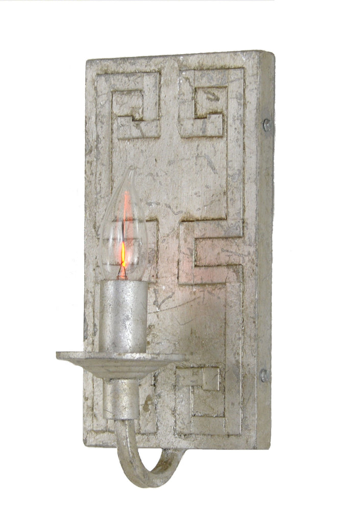 Antique Silver Greek Key Motif Sconce - CENTURIA
