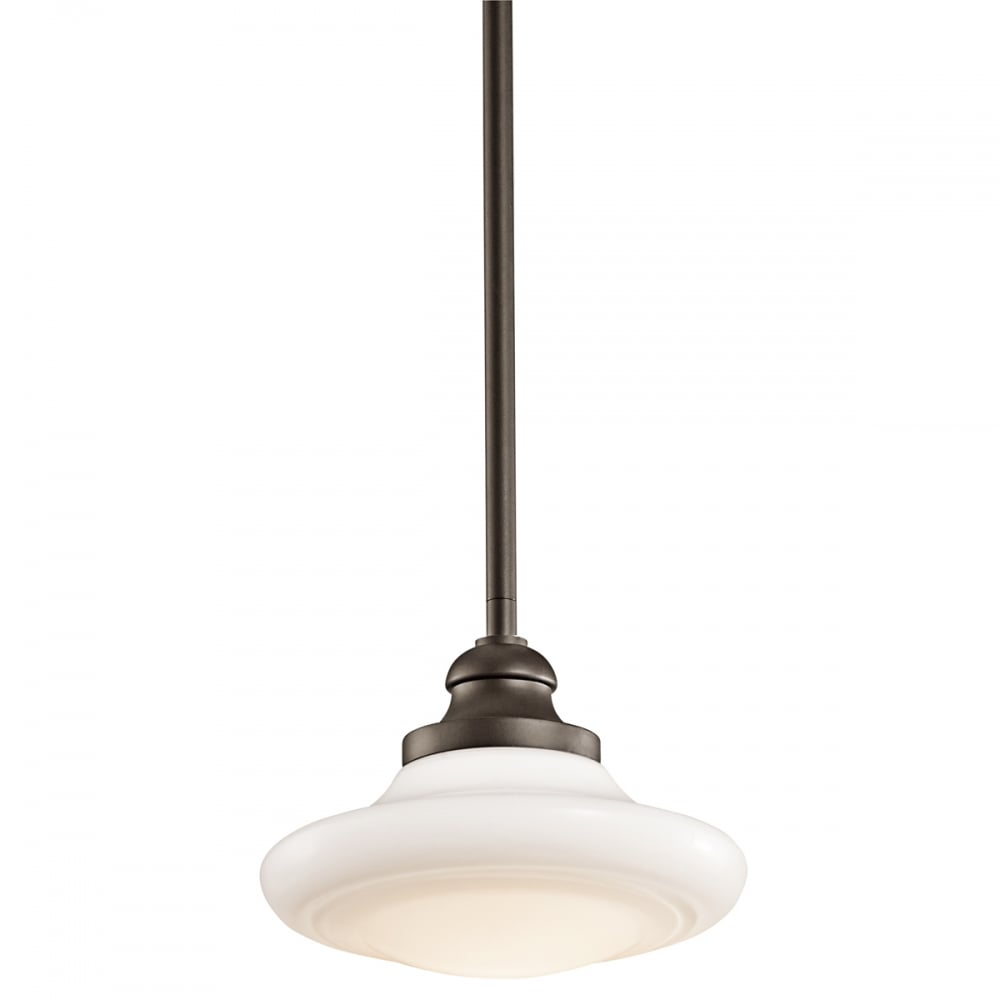 Antique Style Bronze and Opal Glass Pedant Light - CENTURIA