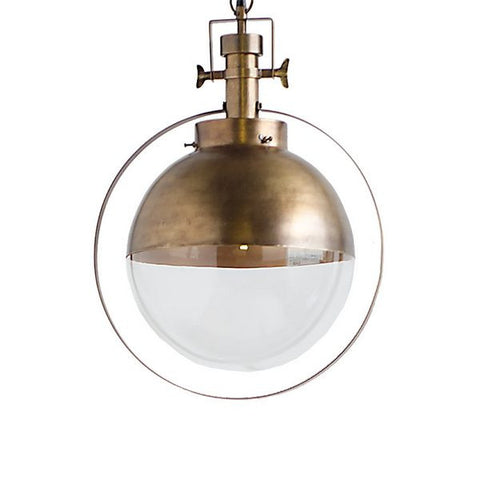 Antique Brass Globe Pendant