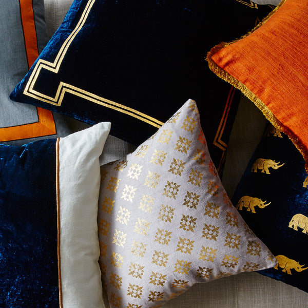 Georgian Navy & Gold Velvet Pillow - CENTURIA