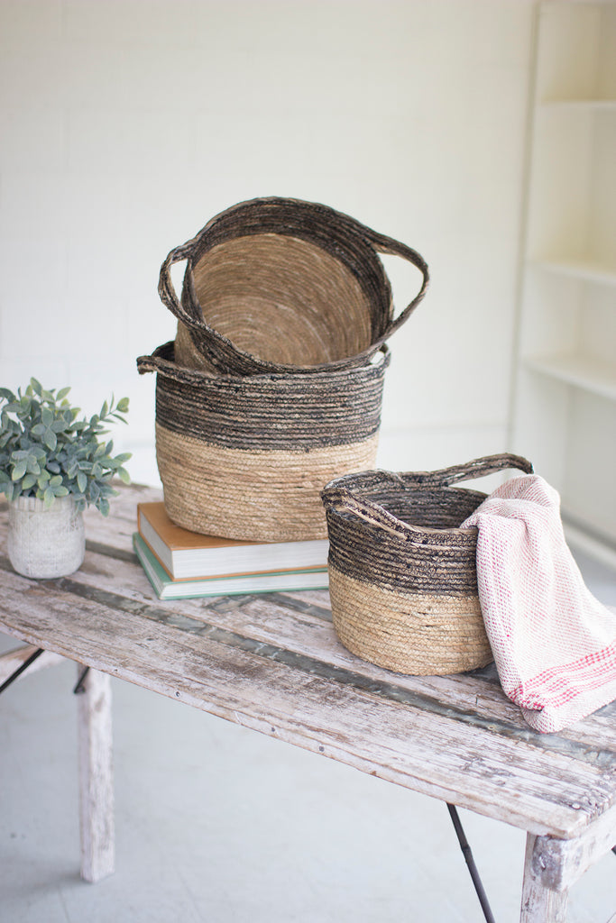 Grey and Tan Rattan Baskets Set/3 - CENTURIA