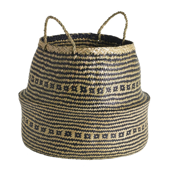 Black and Tan Sea Grass Basket - CENTURIA