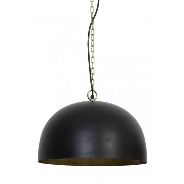 Large Modern Black and Antique Brass Dome Light