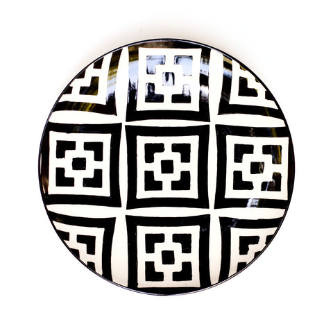 Ivory and Black Handpainted Moorish Desert Plates-Set/4 - CENTURIA