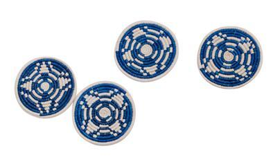 Blue and White Hand Woven Coasters Set/4 - CENTURIA