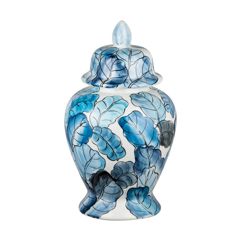 Blue and White Hand Painted Leaf Ginger Jar - CENTURIA