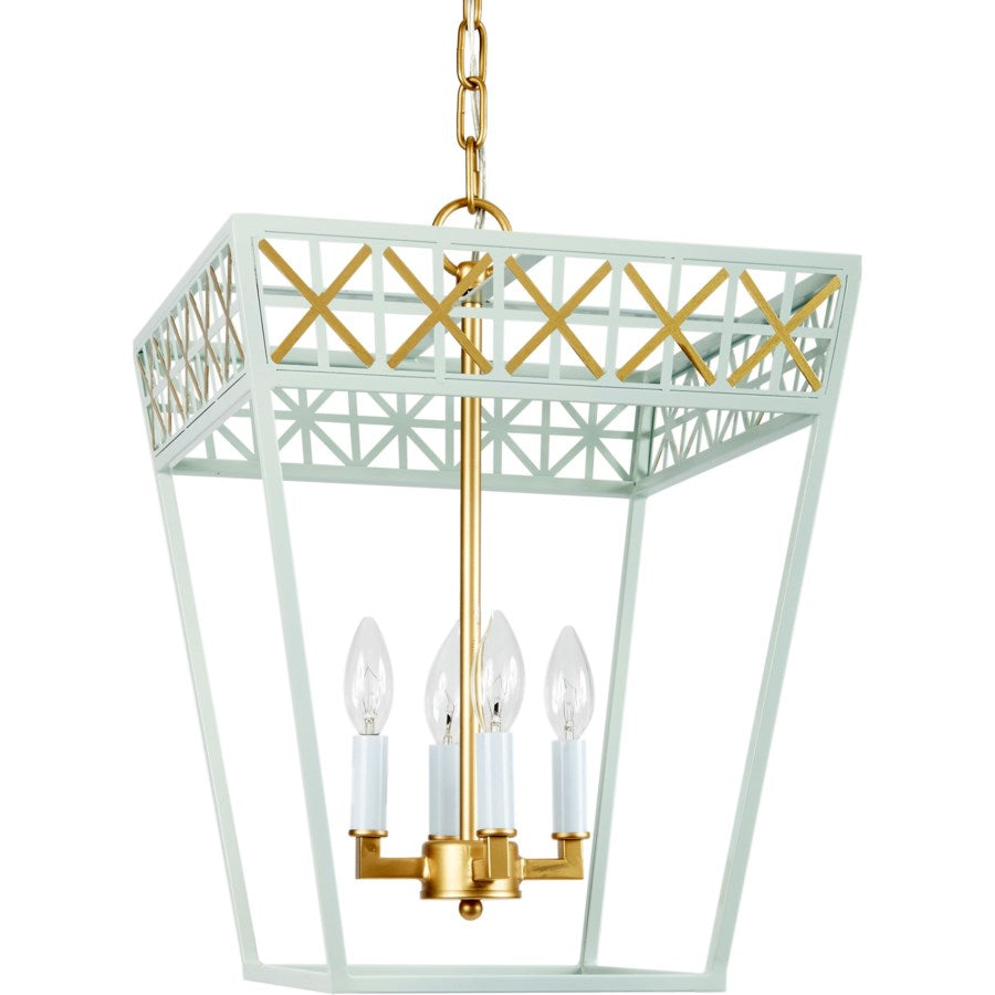 Blue Grey and Gold Rectangualar Pendant Light - CENTURIA