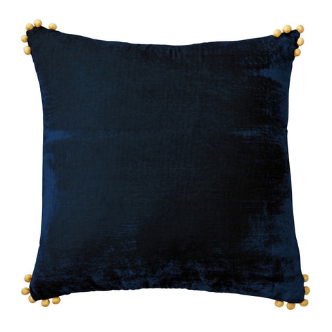 Blue Velvet Pom Pom Pillow - CENTURIA