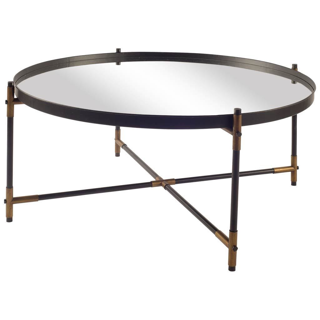 Brass and Black Round Coffee Table - CENTURIA