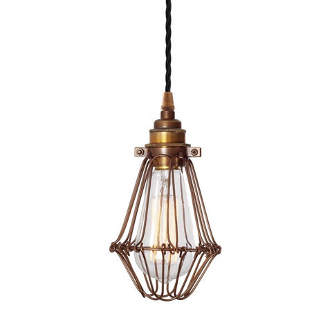 Vinage Style Industral Cage Pendant Light in Antique Brass