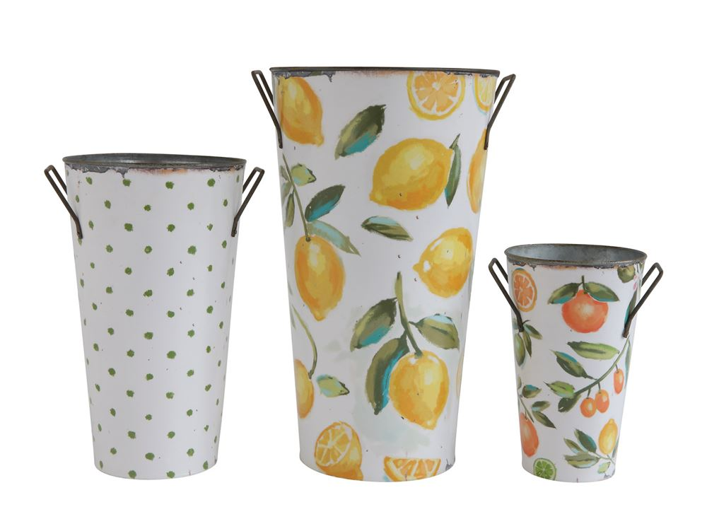 Citron Metal Buckets-Set/3 - CENTURIA