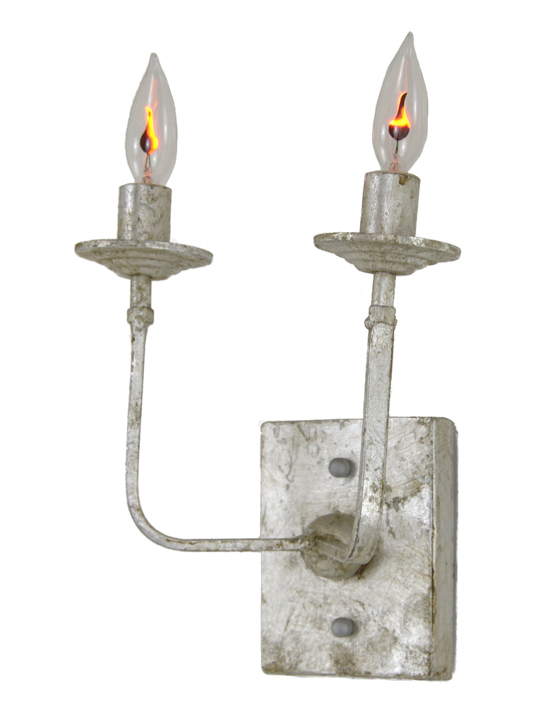 Classic Antique Silver Two Light Sconce - CENTURIA