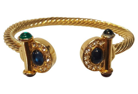 Vintage Crystal & Poured Glass Cable Cuff - CENTURIA