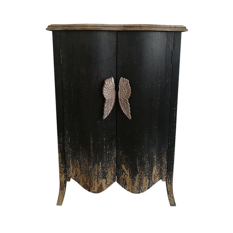 Distressed Vintage Style Cabinet with Angel Wings - CENTURIA