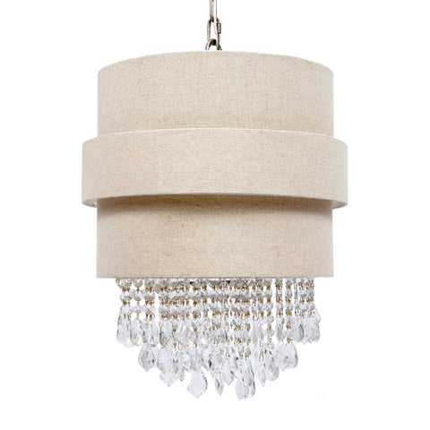 Draping Crystal and Linen Chandelier - CENTURIA