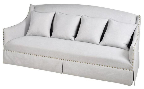 Evelyn Grey Nailhead Sofa - CENTURIA