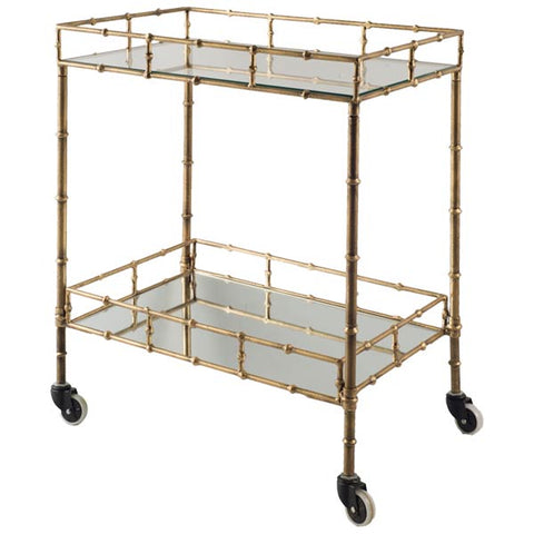 Gold Faux Bamboo Rolling Bar Cart - CENTURIA