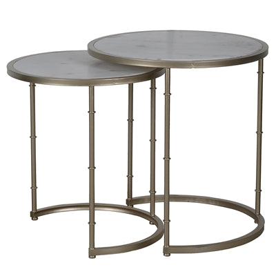 Faux Bamboo and Marble Side Tables/2