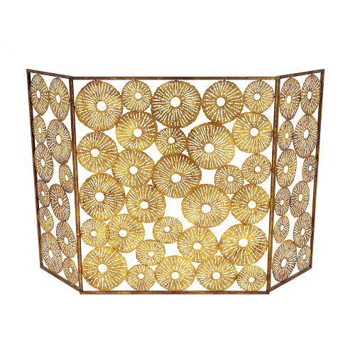 Gold Sand Dollar Fireplace Screen - CENTURIA