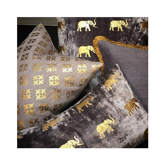 French Grey and Gold Woven Silk Pillow - CENTURIA