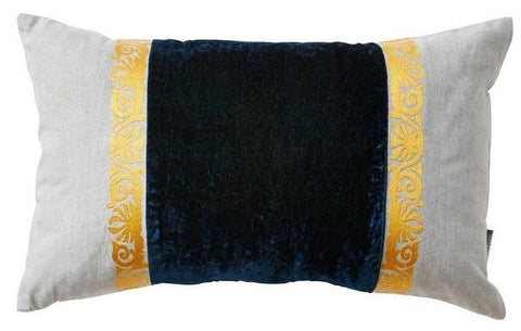 Midnight Blue and Linen Throw Pillow - CENTURIA