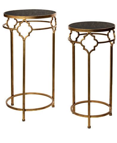 Gold and Black Stone Tables-A Set