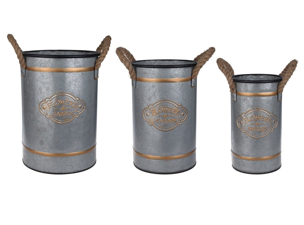 Metal and Rope Garden Buckets - CENTURIA