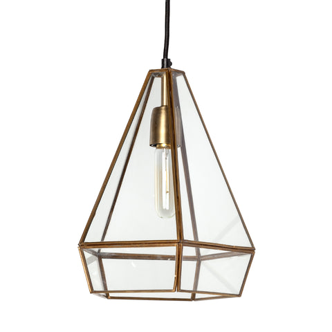Stella Geometric Brass and Glass Light - CENTURIA