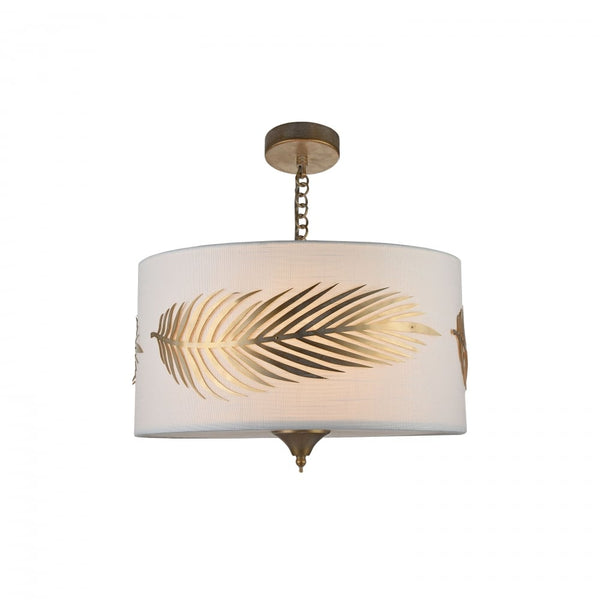 Hollywood Regency Gold and White Palm Frond Chandelier - CENTURIA