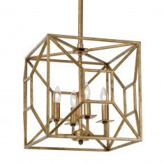 Transitional Gold Geometric Chandelier