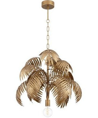 Gold Regency Palm Frond Chandelier