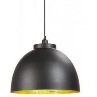 Medium Gold Lined Black Dome Pendant